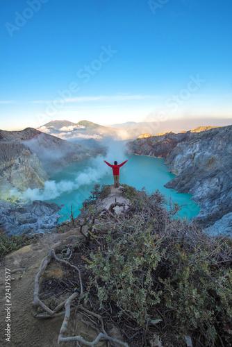 Beautiful morning light view on crater Kawah Ijen at Bondowoso, Indonesia