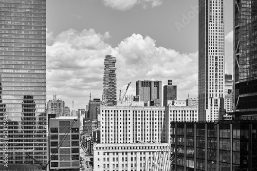Deurstickers New York City Black and white picture of old and modern New York City architecture, USA.