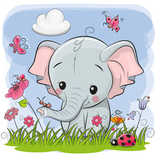 Cute Cartoon Elephant On A Meadow