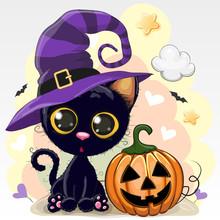 Halloween Illustration Of Cartoon Cat With Pumpkin