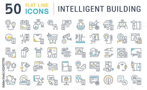 Fotografía Set Vector Line Icons of Intelligent Building.
