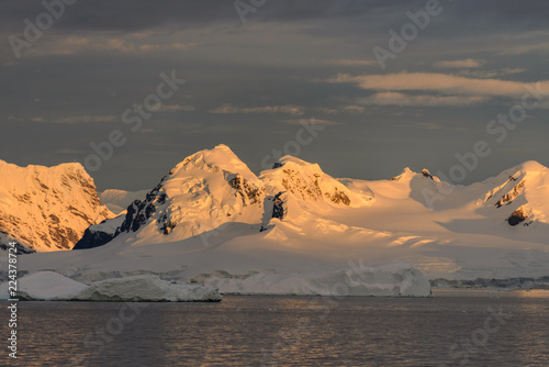 Landscape in Antarctica at sunset