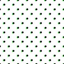 Polka Dot Seamless Pattern, Black And Light Green Colors. Vector Illustration
