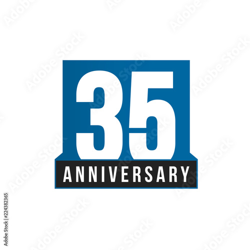 35th Anniversary Vector Icon Birthday Logo Template Greeting Card