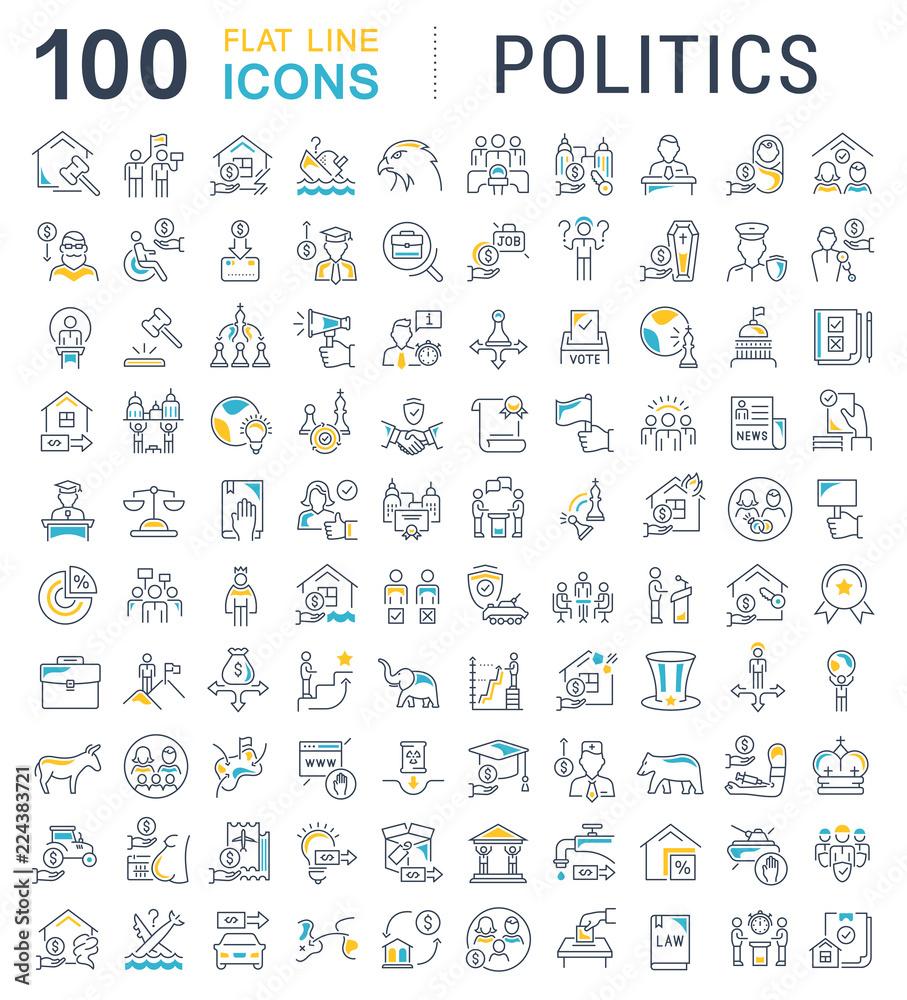 Fototapety, obrazy: Set Vector Line Icons of Politics.