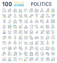 Set Vector Line Icons Of Polit...
