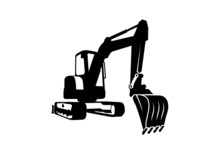 A Black Excavator On White Bac...