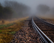 """""""Destination Unknown"""" A Foggy January Morning Outside Of Cuero, Texas. I Wonder If Trains Still Roll Down This Track? If They Do, Where Are They Going?"""