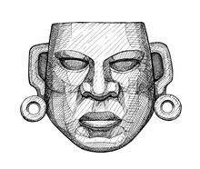Ancient Jade Mexican Mask, Vin...