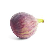 Whole Ripe Purple Fig On White Background