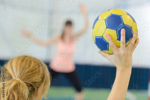 Woman playing handball