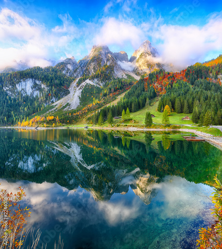 Beautiful view of idyllic colorful autumn scenery in Gosausee lake Austria