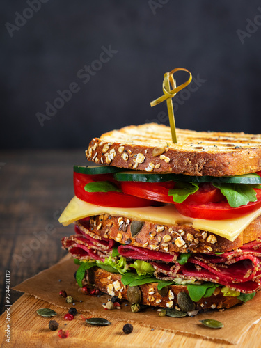 Keuken foto achterwand Snack Close-up of delicious Sandwich with salami, cheese and fresh vegetables on rustic wooden cutting board on wooden table, selective focus. Space for text. Vertical. Club sandwich concept.