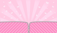 Bright Pink Striped On Pale Background For A Themed Party In Style LOL Doll Surprise. Open Vector Zipper And Cute Lock. Rose Birth Backdrop Template With Hearts. Blank Banner Space For Text Invite