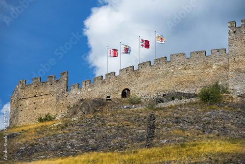 Plakat Grodowy Tourbillon w Sion, kanton Valais, Szwajcaria