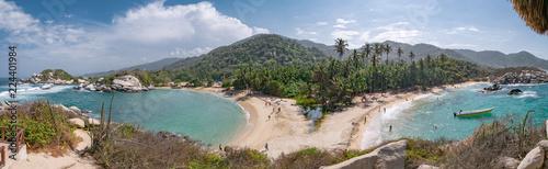 Valokuvatapetti Beautiful Caribbean beach with palm trees in Tayrona National Park close to Sant