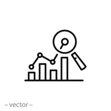 Analytics Information Or Data Icon, Linear Sign Isolated On White Background - Editable Vector Illustration Eps10