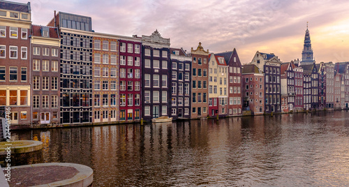 amsterdam canals and houses in netherlands
