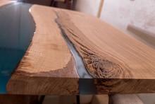 Epoxy Resin In Cracked Walnut Massif. Artistic Processing Of Wood. Furniture Loft. Modern Furnishings. Table-tops.