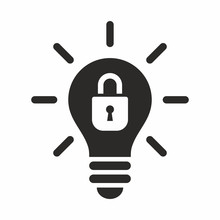 Patent Idea, Patented Solution Locked Or Protected Light Bulb Vector Icon