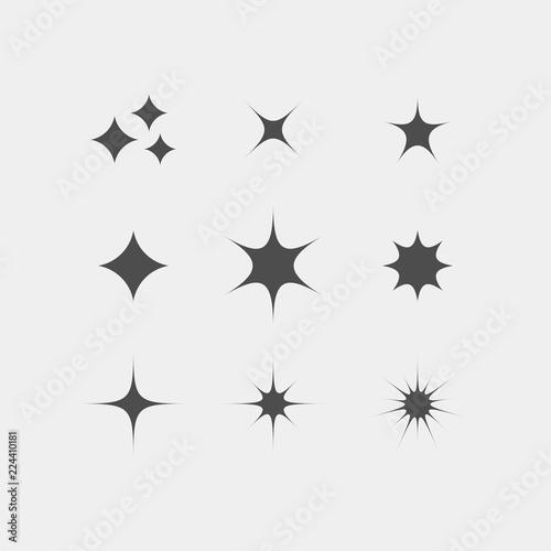 Fotografía Sparkle flat vector icons