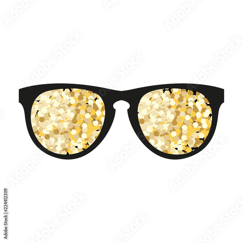 Canvas Prints Spices Gold glitter vector sunglasses. Golden sparcle glasses. Amber particles. Luxory design element.