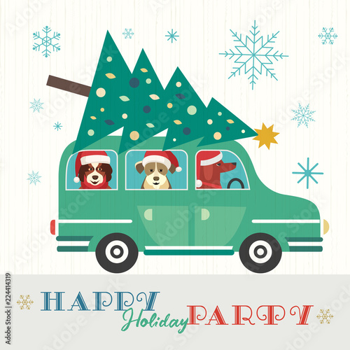 Staande foto Cartoon cars Happy holidays party poster. Cute comic dogs in Santa Claus hat. Christmas tree on retro car. Colorful playful cartoon. Seasonal wishes. Vector winter holiday greeting card. New Year event fun banner