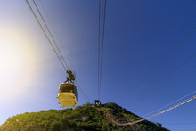 Sugarloaf Mountain Cableway Seen From Below Descends During Sunset