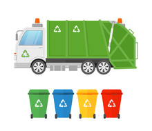 Vector Illustration Of Urban Sanitary Vehicle Garbage Loader Truck And Containers For Different Types Of Garbage. Waste Collection And Transportation. Green Garbage Truck, Eco Concept In Flat Style.