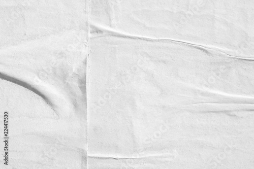 Blank white creased crumpled paper texture background old grunge ripped torn vintage collage posters placard
