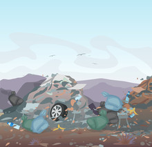 Vector Illustration Of Garbage. Landfill Full Of Trash On Mountains Background. Ecology And Recycle, Pollution Environment Concept.