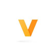 Letter V Logo Alphabet On White Background