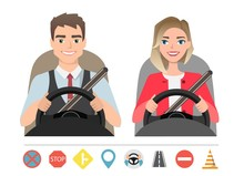 Man And Woman Driving A Car. Silhouette Of A Woman And A Man Who Sit Behind The Wheel