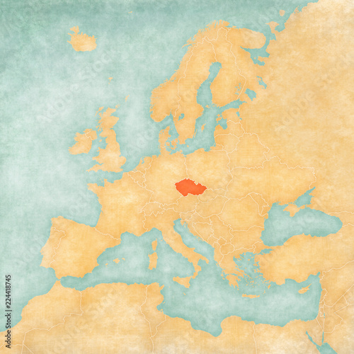 Photo  Map of Europe - Czech Republic