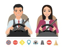 Asian Man And Woman Driving A Car. Silhouette Of A Woman And A Man Who Sit Behind The Wheel