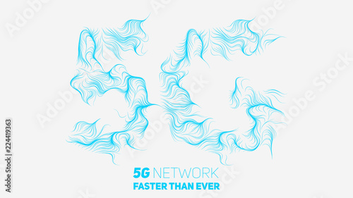 Vector abstract 5G new wireless internet connection background. Global network high speed network. Abstract 5G symbol with curly lines on a white background. © garrykillian