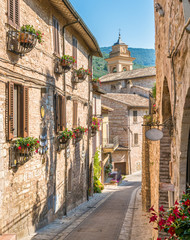 Scenic sight in Spello, flowery and picturesque village in Umbria, province of Perugia, Italy.