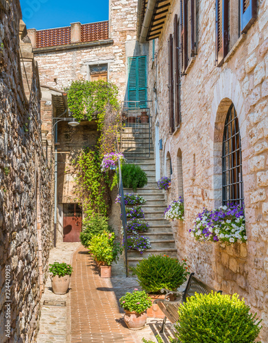 Poster de jardin Ruelle etroite Scenic sight in Spello, flowery and picturesque village in Umbria, province of Perugia, Italy.
