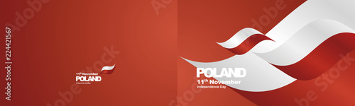 Independence Day Poland flag ribbon two fold landscape background