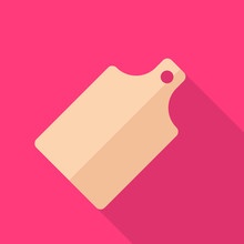 Cutting Board Flat Icon With Long Shadow Isolated On Pink Background.  Cutting Board Sign Symbol In Flat Style. Kitchenware Element Vector Illustration For Web And Mobile Design.