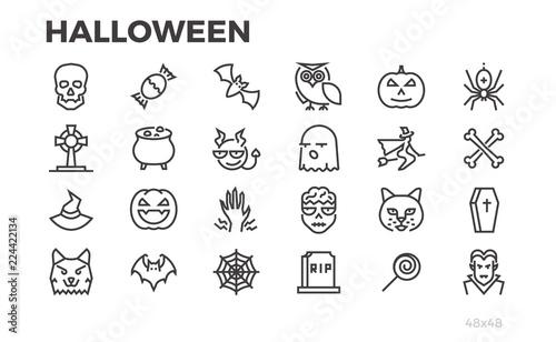 Fotografie, Obraz Halloween thin line icons