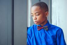 Portrait Of Elegant Boy Wearing Blue Shirt And Bowtie
