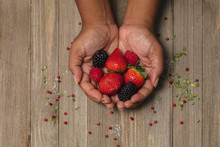 Close Up Of Woman's Hand Holding Berries