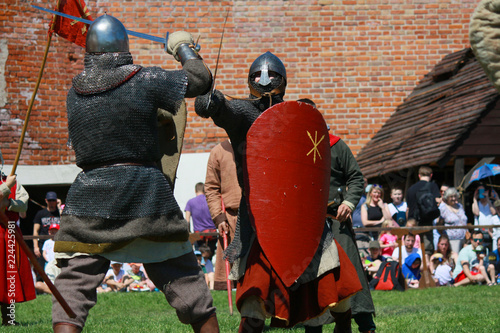 Knights fighting on tournament in Czersk castle, south of Warsaw, Mazovia, Poland