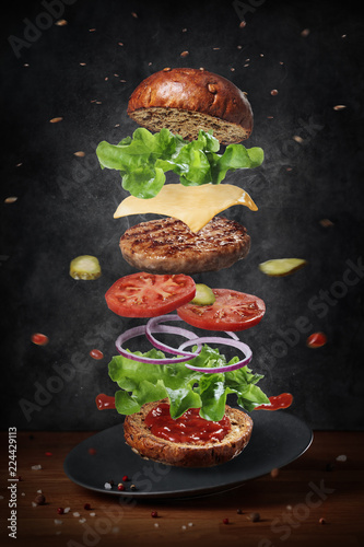 Exploded view diagram of cheeseburger