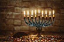 Jewish Ritual Holiday Hanukkah Menorah Traditional Burning Candles