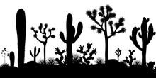 Desert Seamless Pattern With Silhouettes Of Joshua Trees, Opuntia, And Saguaro Cacti.