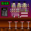 Bar, Restaurant with counter. Banner of interior with bar counter, pub chairs and shelves with alcohol.
