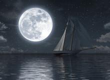 Sailboat On The Sea At Night W...