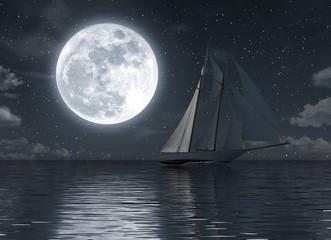 Żaglówka na morzu w nocy z pełni księżyca